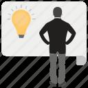 business solution, creative businessman, creative person, project idea, smart businessman icon