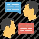 communication, conversation, dialogue, discussion, people talking