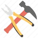 claw hammer, hammer, hand tools, plier, work tools icon