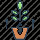 development, evolution, flourish, growth, increase, profit, rise