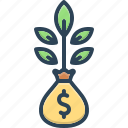 deposit, growth, investment, money, plant, profit, wealth