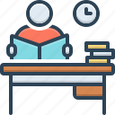 desk, intone, knowledge, learn, perusal, student, study icon