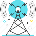 broadcasting, marketing, promote, radio, signal, tower icon