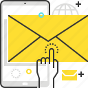 hand, mail, marketing, mobile, promote, receive icon