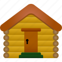 cabin, house, log cabin, property, village, wood, wooden icon