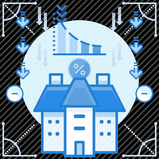 decreasing, estate, property, value icon