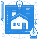 blueprints, design, sketch icon