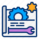 gear, plan, prototype, settings, wrench icon