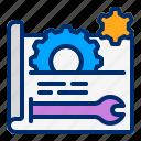 gear, plan, prototype, settings, wrench