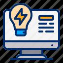 bulb, computer, flash, idea, website icon