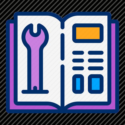 book, guide, manual, settings, user icon