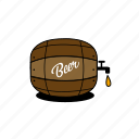 barrel, beer, beer foam, foam, grain, illustration, yellow icon