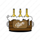 beer, bottles, box, bubbles, foam, pub, yellow icon