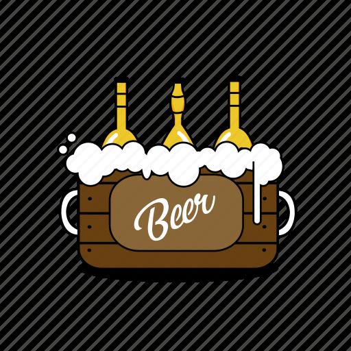beer, bottles, box, bubbles, foam, pub, yellow icon
