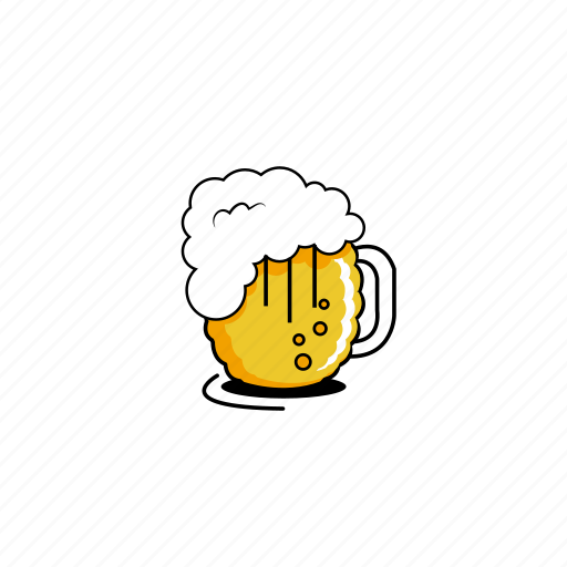 beer, beer foam, bubbles, foam, glasses, mugs, yellow icon
