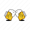 beer, cheers, foam, glass, graphicdesign, mugs, vector design icon