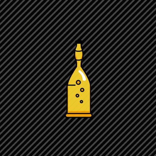 beer, beer foam, bottles, bubble, foam, lines, yellow icon