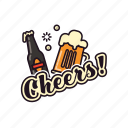 alcohol, glas, pub, cheers, beer, bottle, drinking icon