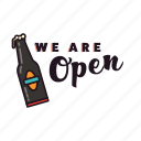 alcohol, beer, bottle, drinking, open, pub, sign icon