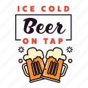 alcohol, beer, drinking, glasses, ice cold, pub, tap icon