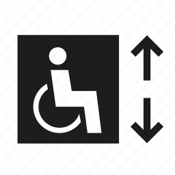 conveyor, elevator, handicap, lift, wheelchair, wheelchair accessible icon