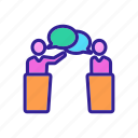 debate, leader, microphone, public, speaker, speech icon