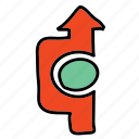 arrow, arrows, direction, road, straight, turn icon