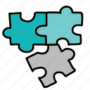 arrows, pieces, puzzle icon