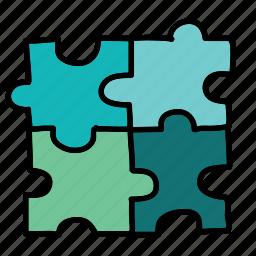 arrows, pieces, puzzle icon