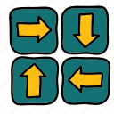 all, arrow, arrows, boxes, direction, in icon