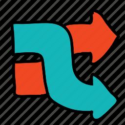 arrow, arrows, cross, direction, over, road icon