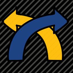 arrows, circle, crossover, direction, road icon