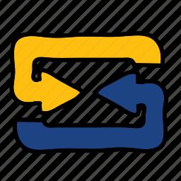 arrow, arrows, direction, meeting, road icon