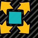 arrow, arrows, direction, seperating, split icon