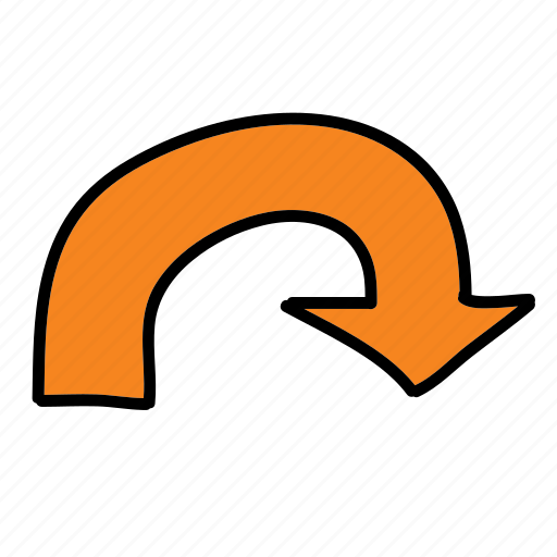 around, arrows, direction, right, road, turn icon