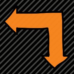 arrow, arrows, direction, road, split, two, way icon