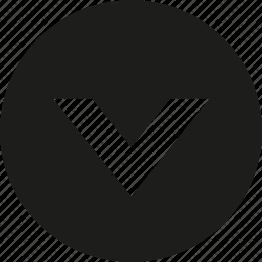 arrow, big, circle, down icon