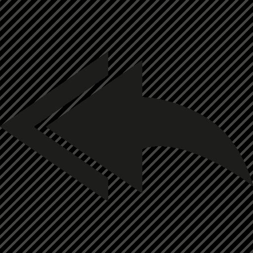 arrow, left, multiple icon