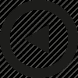 arrow, big, left, tri icon