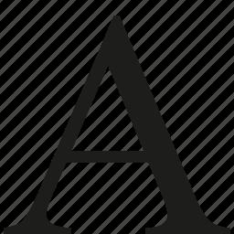 text, uppercase icon