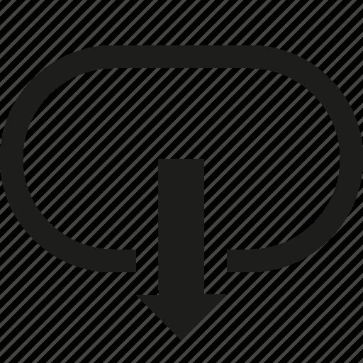 arrow, circui, down icon