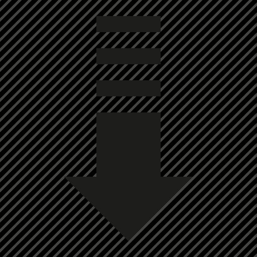 arrow, down, stripes icon