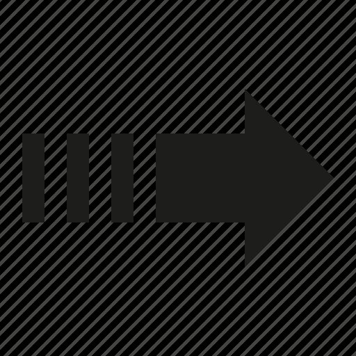 arrow, right, stripes icon