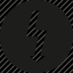 bolt, circle icon