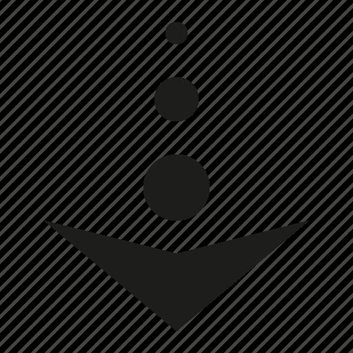 arrow, ball, down icon