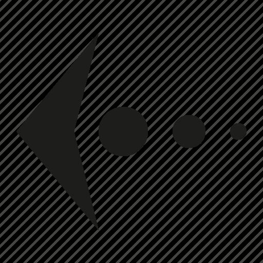 arrow, ball, left icon