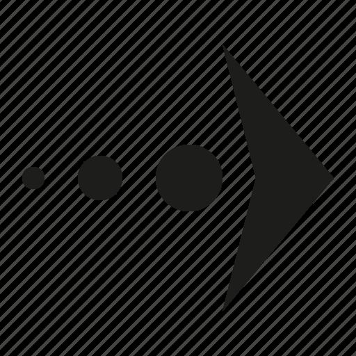 arrow, ball, right icon