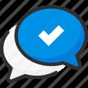 box, bubble, chat, check, mark, quote, tick icon
