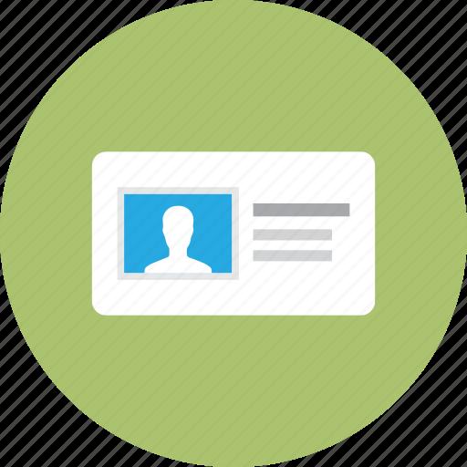 badge, card, info, personal, profile, vcard icon