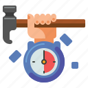 clock, hammer, minutes, package icon